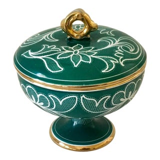 Vintage Teal Pottery Lidded & Footed Compote