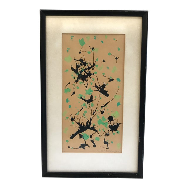 Mid-Century Modern Splatter Painting on Paper For Sale