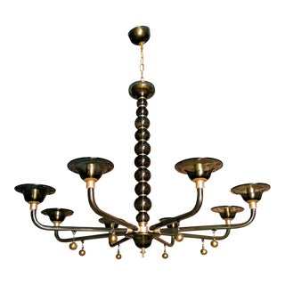 Large Murano dark gray & gold accents, mid century modern, 8 lights chandelier, attr to Venini