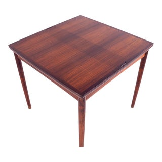1960s Mid Century Modern Poul Hundevad Rosewood and Leather Reversible Hidden Leaf Dining Card Table For Sale