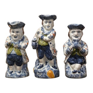 19th Century French Normand Painted Barbotine Ceramic Pitchers - Set of Three For Sale