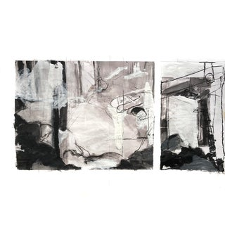Major Contemporary Painting - Abstract Seascape Diptych of The Piers at Kittery Point, Maine For Sale
