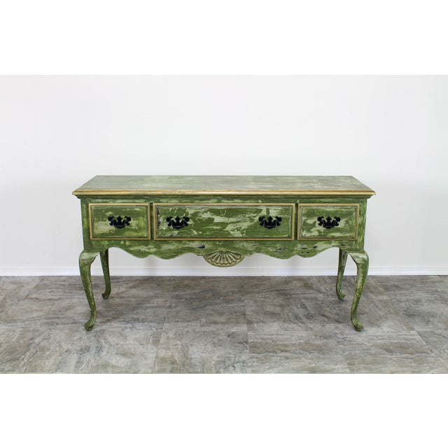 1960's Queen Anne Style 3-Drawers Green Console Table For Sale - Image 12 of 12