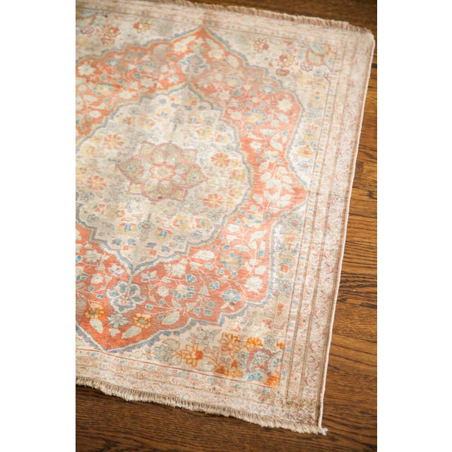 "Traditional Antique Silk Tabriz Rug Mat - 2'2"" X 2'9"" For Sale - Image 3 of 7"