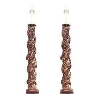 17th Century Italian Rococo Gilt Polychromed Floor Lamps-a Pair For Sale