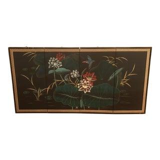 Vintage Mid Century Hummingbird & Lotus Chinese Painted Silk Byōbu For Sale