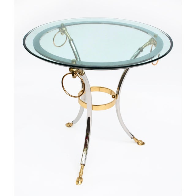 Mid 20th Century Brass, Chrome and Glass Rams Head Hoof Round Side Table For Sale - Image 5 of 12