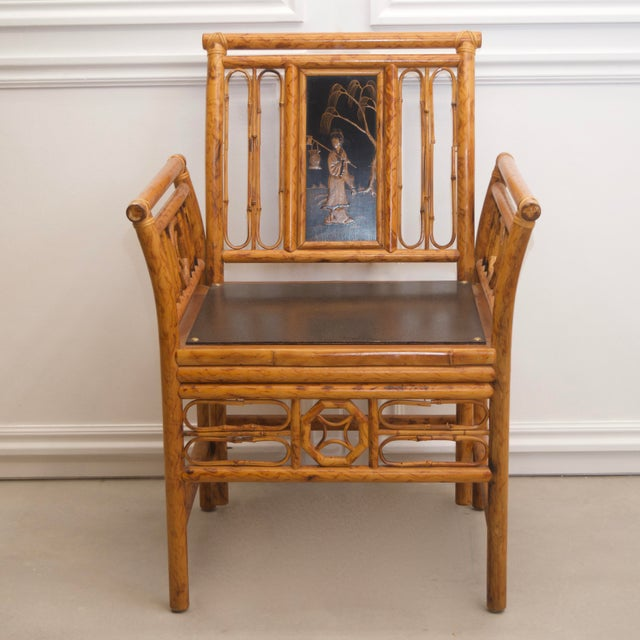 1980s Maitland Smith Bamboo Chinoiserie Asian Chairs - a Pair For Sale In Salt Lake City - Image 6 of 11