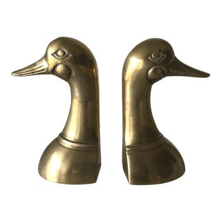 Vintage Leonard Brass Duck Bookends - a Pair For Sale