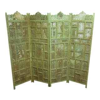 1960s Vintage Moroccan Style Pierced Wood 4-Panel Screen For Sale