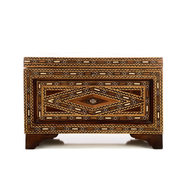 Beautiful Moroccan Inlaid Vintage Trunk Chest W/Geometric Design For Sale - Image 4 of 10