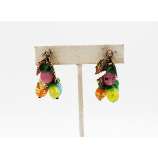 1960s Napier Art Glass Fruit Drops Earrings Preview