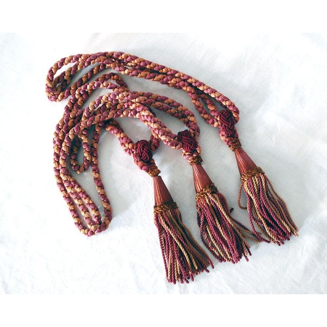 Silk Vintage Silk Drapery Ties With Tassels - Set of 3 For Sale - Image 7 of 7