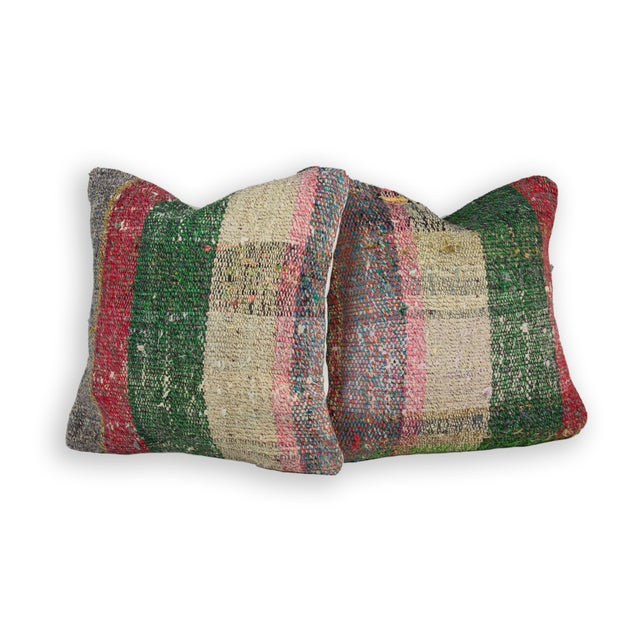Scottish Style Plaid Weave Pillows - A Pair - Image 2 of 3