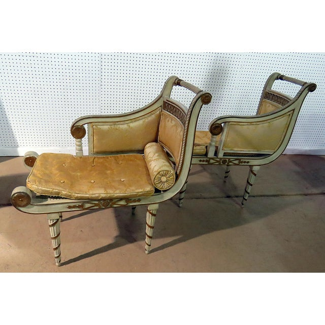 Regency Style Distressed Painted Recamiers - a Pair For Sale In Philadelphia - Image 6 of 10