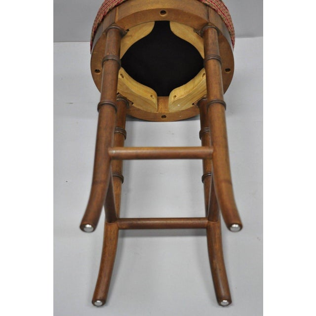 Vintage Chinese Chippendale Style Mahogany Faux Bamboo Counter Bar Stool For Sale - Image 9 of 11