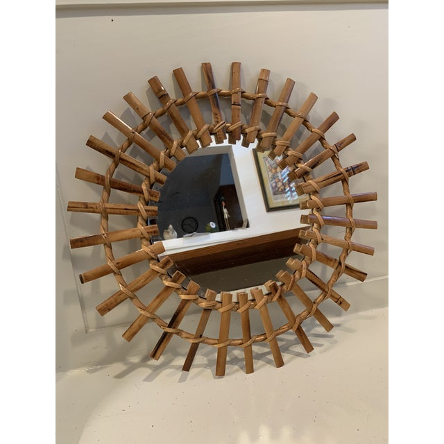 Vintage Bamboo and Rattan Sunburst Mirror For Sale In Charlotte - Image 6 of 6