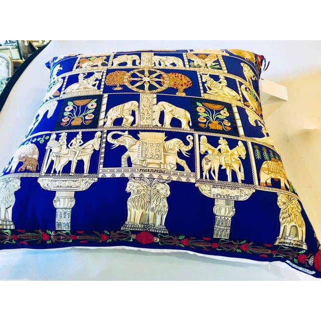 "Enormous Hollywood Regency style Hermès ""Torana"" silk stuffed pillow. One out of a large collection of vintage throw or..."