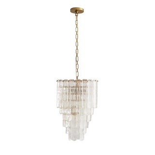 Modern Arteriors Antique Brass and Seeded Glass Larie Chandelier For Sale