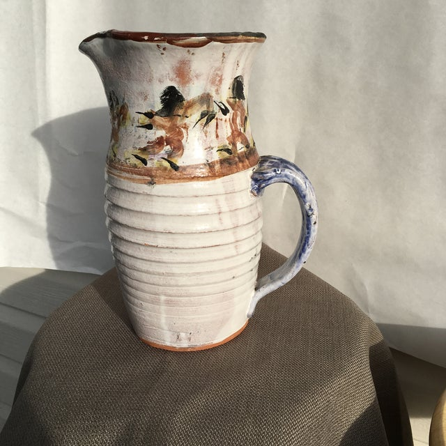 Folk Art White Pottery Pitcher For Sale - Image 4 of 10