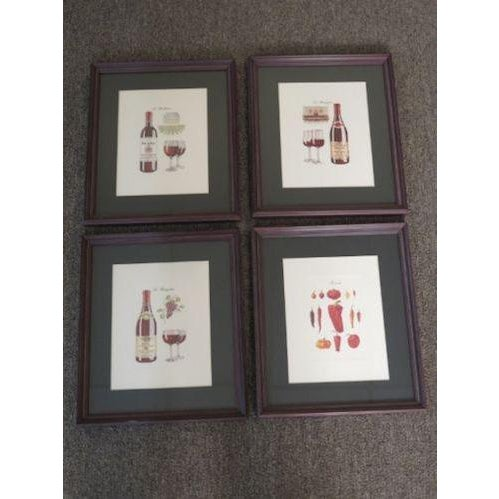 Printmaking Materials Wine Theme Matted Prints - Set of 4 For Sale - Image 7 of 7