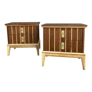 Mid Century Dixie Walnut Nightstands - a Pair For Sale
