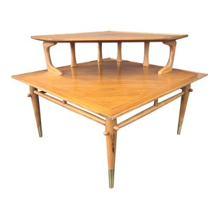 1950s Lane Copenhagen Walnut 2 Tiered Corner Table For Sale