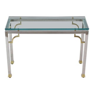 Mid-Century Modern Chrome Brass Thick Glass Top Console Sofa Table For Sale