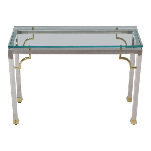 Mid-Century Modern Chrome Brass Thick Glass Top Console Sofa Table