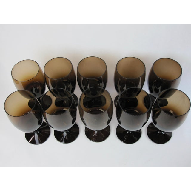 Vintage Smoked Brown Coupes & Goblets - Set of 21 For Sale In Los Angeles - Image 6 of 8