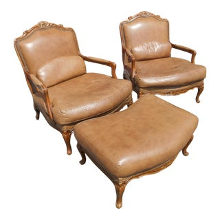 Vintage Matching Pair of Chateau d'Ax Bergere Chairs and Ottoman For Sale