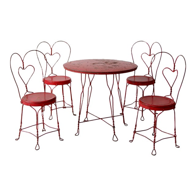 Antique Ice Cream Parlor Table Set For Sale