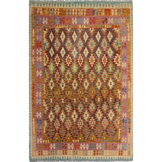 Keren Blue/Purple Hand-Woven Kilim Wool Rug -6'9 X 9'6 For Sale