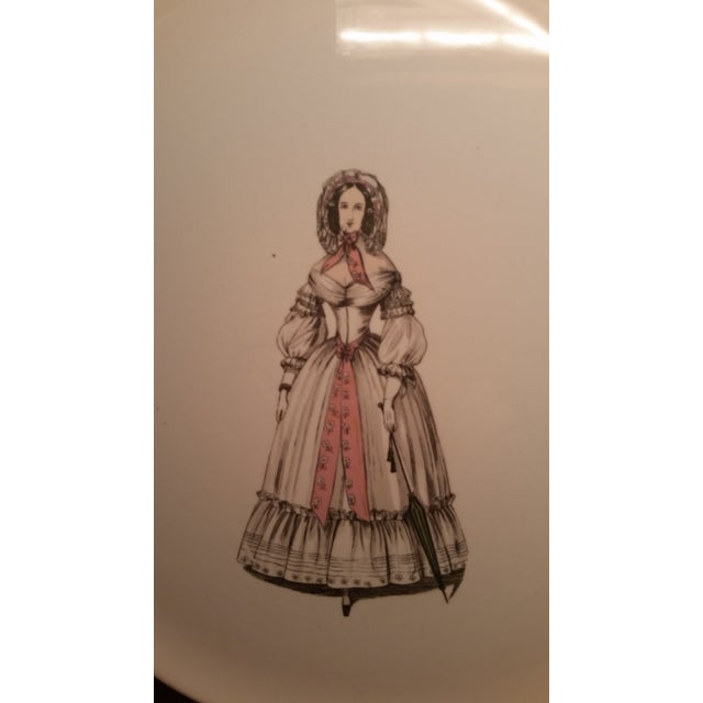 French 1930s Vintage Eastern China New York City Fashionable Woman Plate For Sale - Image 3 of 6