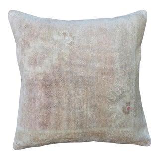 Vintage Turkish Boho Pastels Carpet Pillow For Sale