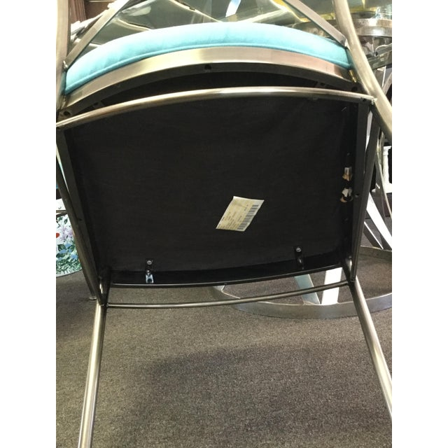 Turquoise Sueded Seat & Brushed Platinum Chairs - Set of 4 For Sale - Image 4 of 7