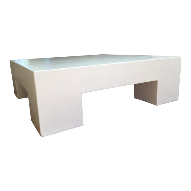 Minimalist Modern White Plaster Coffee Table For Sale