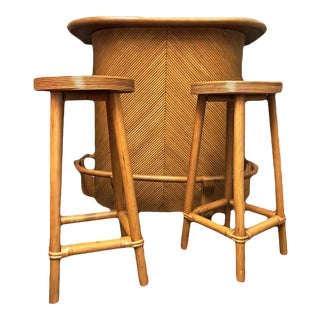 Mid-Century Rattan Summer Tiki Bar - Set of 3