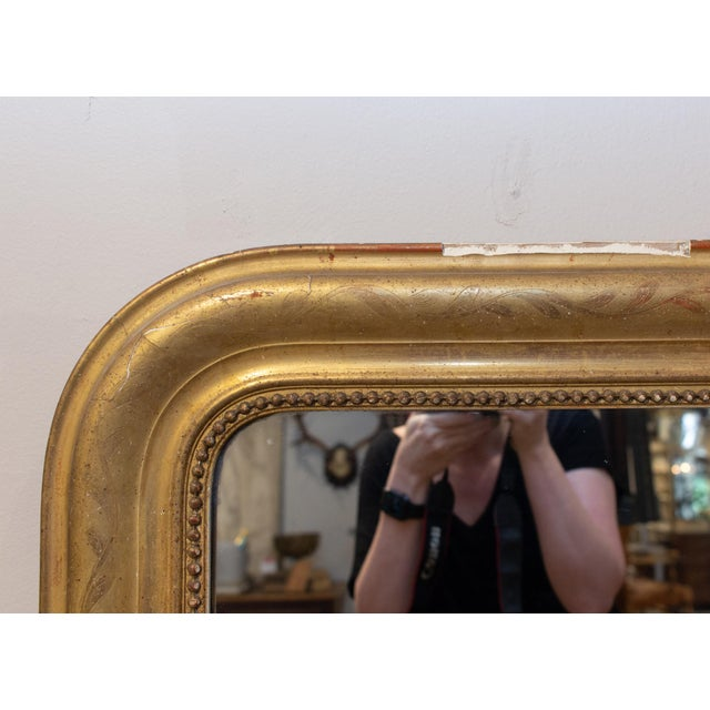 Antique French Gilt Louis Philippe Mirror With Floral Decoration For Sale - Image 9 of 13