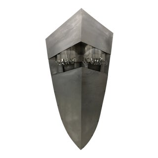 Monumental Metal Face Mask Wall Sculpture For Sale