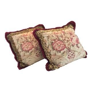 Vintage Ralph Lauren Guinevere Aragon Floral Leopard Pillows - a Pair For Sale