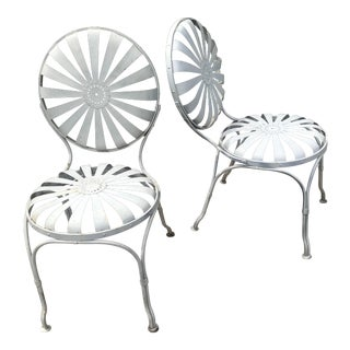 Francois Carre Iron Sunburst Garden Chairs - a Pair For Sale
