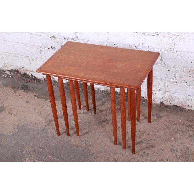 Danish Modern Teak Nesting Tables - Set of 3 For Sale - Image 4 of 11