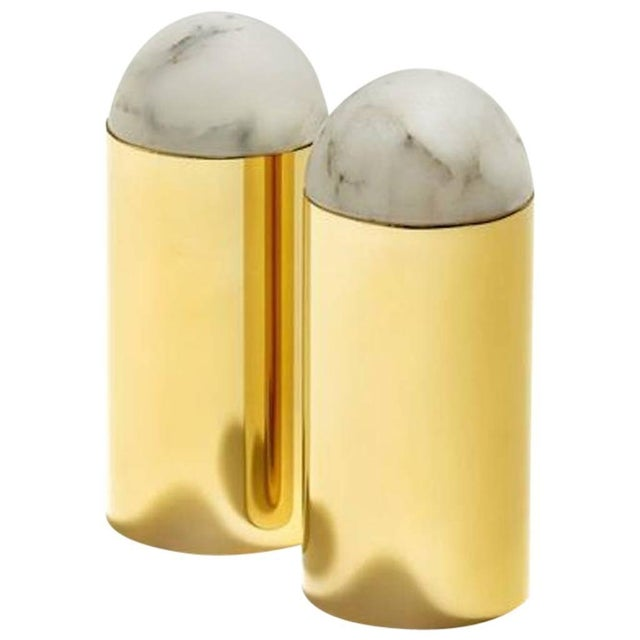 Mid-Century Modern Gold Amare Salt and Pepper Set For Sale - Image 3 of 3