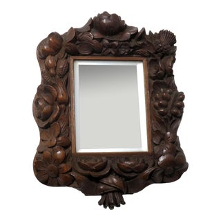 Antique Hand Carved Floral Mahogany Frame Wall Mirror For Sale