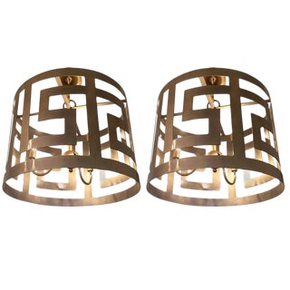 Handcrafted Greek Key Motif Drum Chandeliers - a Pair For Sale
