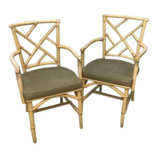Chinoiserie Bamboo Rattan Arm Chairs - a Pair