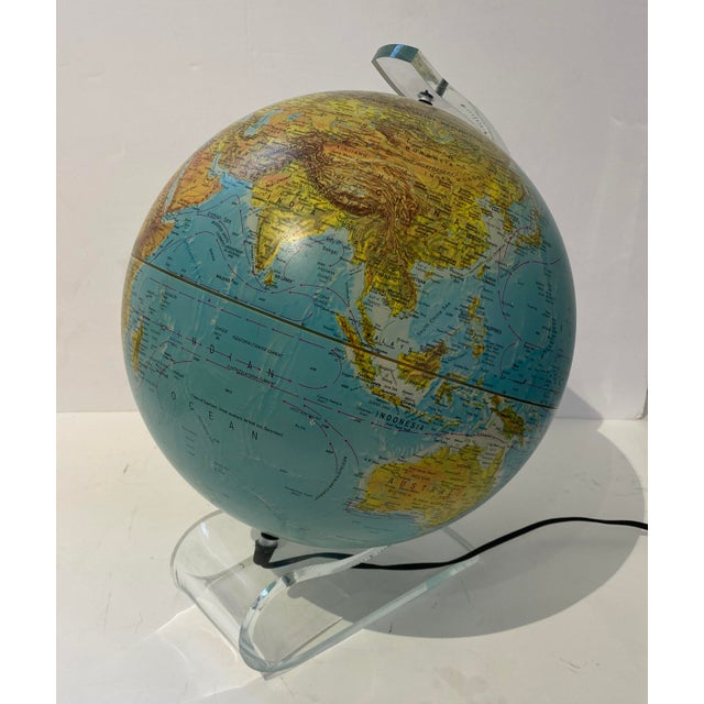 Metal Lucite Holder and Vintage 1987 Illuminated World Globe For Sale - Image 7 of 11