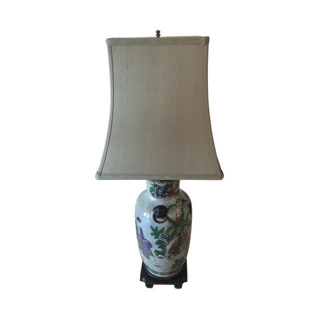 Vintage Asian Table Lamp With Wooden Base For Sale