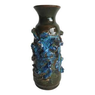 1960s Mid Century Modern Lava Glaze Studio Pottery Vase For Sale